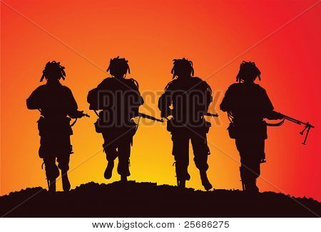 Vector silhouette of a small infantry group of the US Airborne