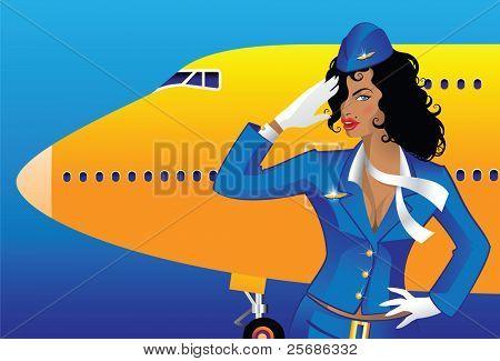 Saluting flight attendant