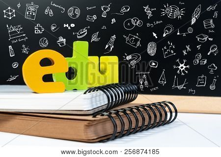 Classic School Background With Wooden Word Edu And Doodle Draw Icon For Education. Education School