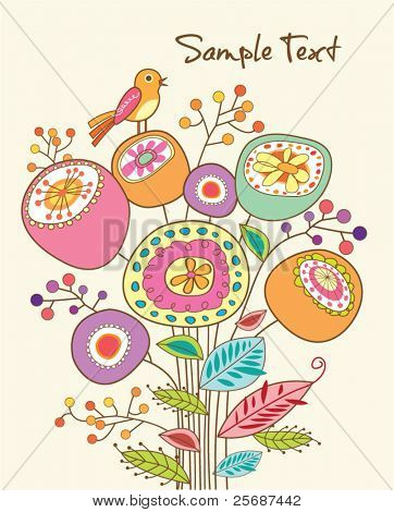 lovely greeting card with whimsical bird and flowers