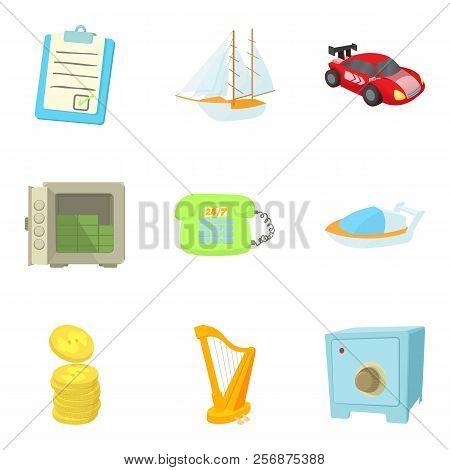 Money Equivalent Icons Set. Cartoon Set Of 9 Money Equivalent Icons For Web Isolated On White Backgr