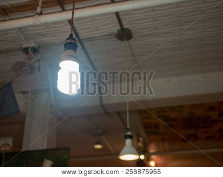 Bright Florescent Coil Light Bulb Hanging In Warehouse Type Of Area