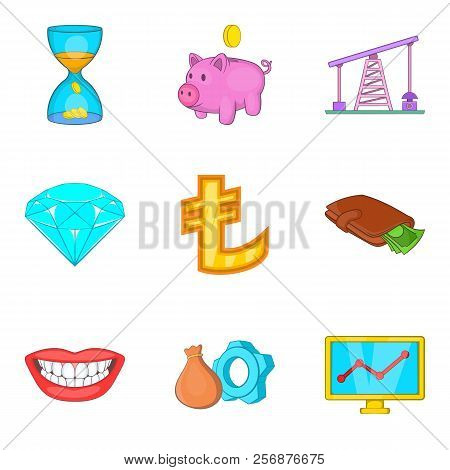 Cheap Money Icons Set. Cartoon Set Of 9 Cheap Money Icons For Web Isolated On White Background