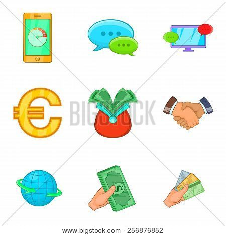 Cheap Credit Icons Set. Cartoon Set Of 9 Cheap Credit Icons For Web Isolated On White Background