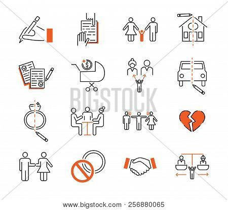 Divorce mediation outline icon collection. Vector illustration set with sign, agreement, children, house, car and property. Relationship breakup and compromise discussion poster