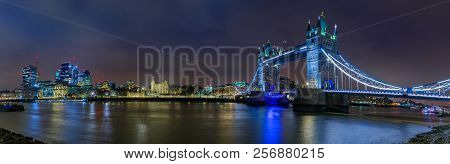 Panorama Of The City Skyline At Sunset With London Tower Bridge And Tower Of London On Thames River