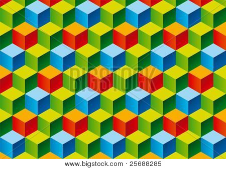 Three colors child bricks 3D pattern. Vector Illustration.