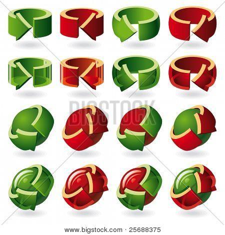 Set of Round Arrow Icons. Matt and Transparent. Illustrator EPS v8.0