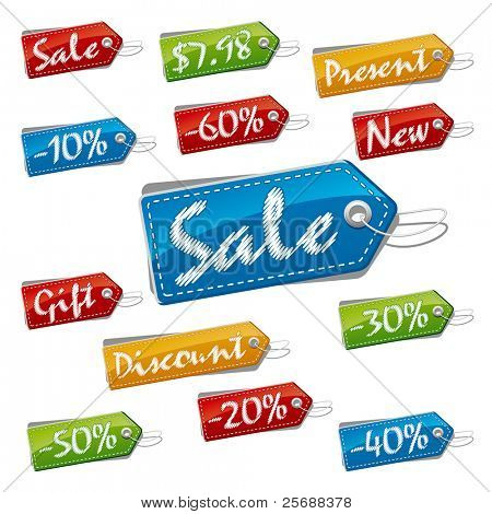 Discount, Sale and Price Stitched Labels. Vector Illustration (EPS v.8.0)