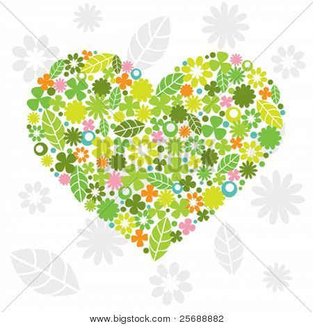 Green Heart Made of Flowers and Leaves