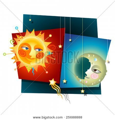 Happy Decorative Collage of a Sun and Moon
