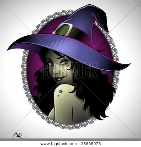 Illustration of a sexy witch