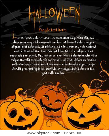 Halloween Pumpkin illustration for banners labels and invite cards