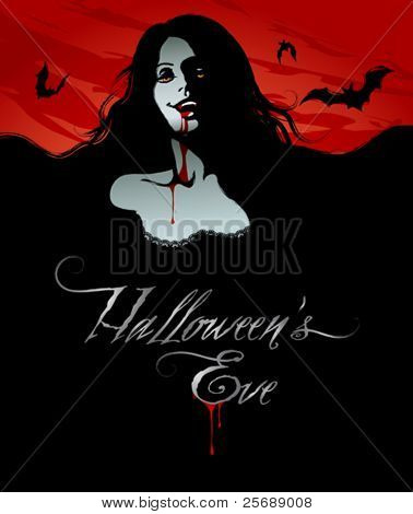 Halloween Illustration of a Sexy Vampire for banners and invite cards