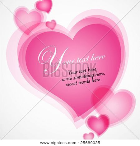 Valentines Day illustration with hearts text in the center