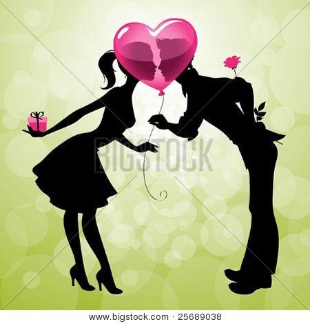 Beispiel für ein nettes Paar küssen hinter herzförmigen Ballon