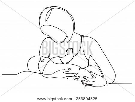 Continuous Single Drawn One Line Woman Is Breastfeeding A Child Drawn Picture Silhouette. Line Art.
