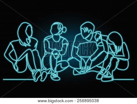 Continuous Drawing Of A Line Of Four Sitting Happy Team Members. One Continuous Hand-drawn Hand Silh