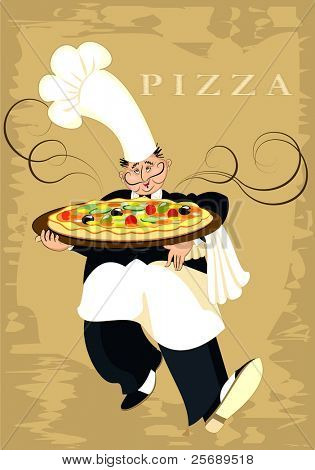 The chef serves pizza