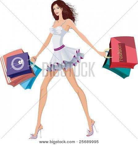 Elegante dama con bolsas