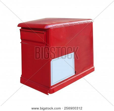 Red Post Box On Wall Post Office Isolated On White