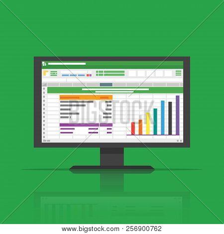 Spreadsheet Icon On Computer Screen Flat Vector Illustration