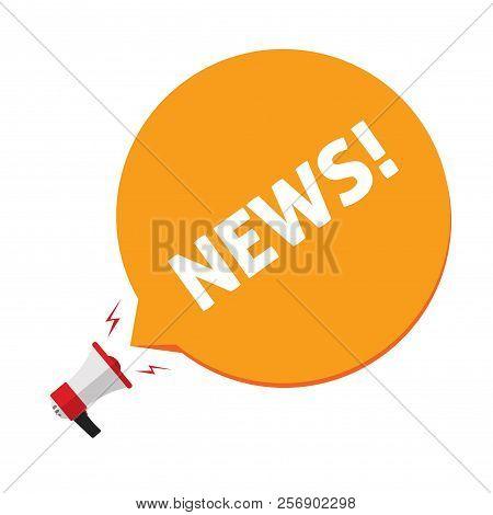 News Announcement Via Megaphone Vector Illustration, Flat Cartoon Bullhorn And News Text In Bubble S