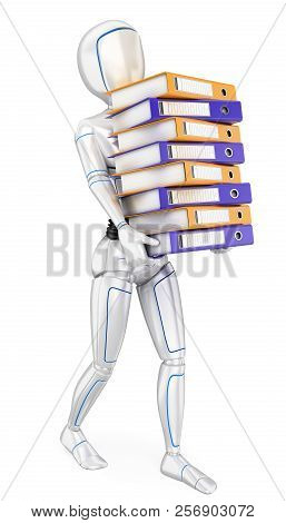 3d Futuristic Android Illustration. Humanoid Robot Loading With Many Ring Binders. Work Overload. Is