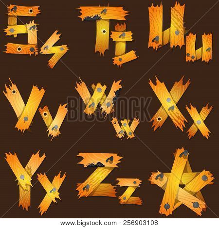 English alphabet from pieces of wood. The original font design of the pieces of plywood. poster