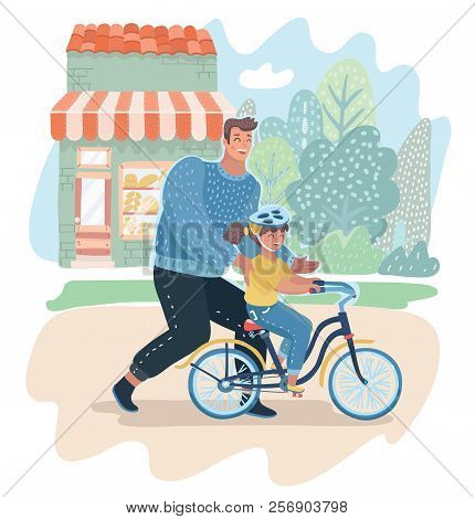 Caring dad teaching daughter to ride bike for the first time. Father teach his girl kid cycling outdoor. Parenting, fatherhood concept. Vector cartoon illustration in modern concept poster