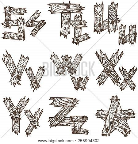 English alphabet from pieces of wood. The original font design of the pieces of plywood. English letters for coloring. poster