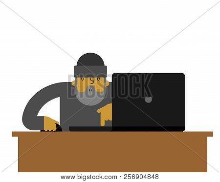 Beggar Laptop Working. Pauper And Notebook. Homeless Vector Illustration