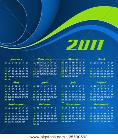 Vector abstract calendar, design template for 2011