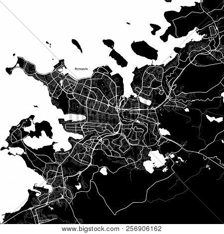 Area Map Of Reykjavík, Iceland. Dark Background Version For Infographic And Marketing Projects.