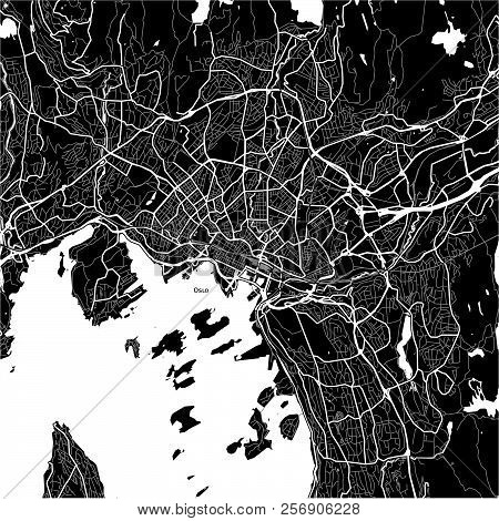 Area Map Of Oslo, Norway. Dark Background Version For Infographic And Marketing Projects.