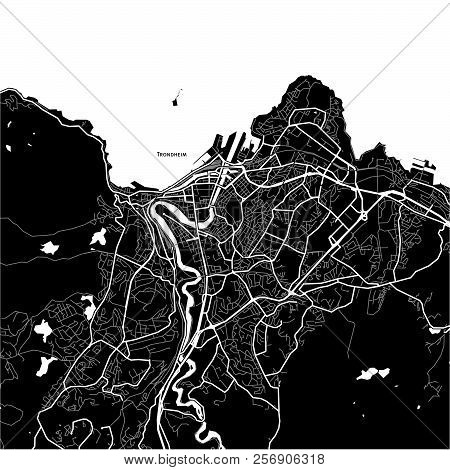 Area Map Of Trondheim, Norway. Dark Background Version For Infographic And Marketing Projects.