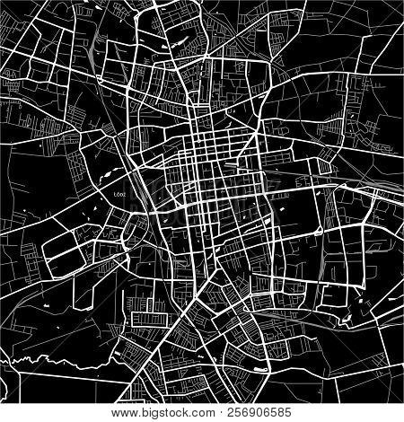 Area Map Of Łódź, Poland. Dark Background Version For Infographic And Marketing Projects.
