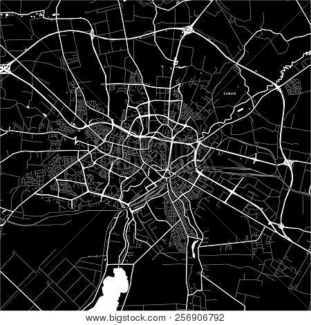 Area Map Of Lublin, Poland. Dark Background Version For Infographic And Marketing Projects.