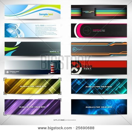 Vector abstract banners for web header (mega set)