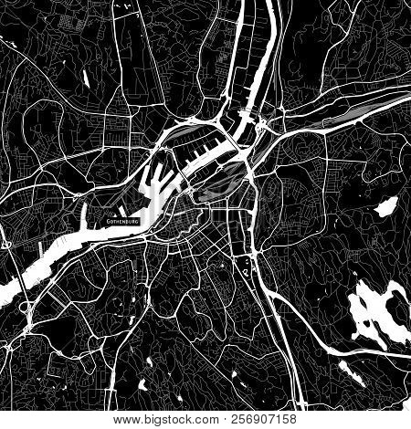 Area Map Of Gothenburg, Sweden. Dark Background Version For Infographic And Marketing Projects.