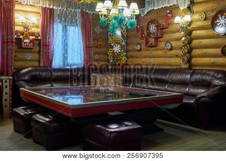 MOSCOW, RUSSIA - JAN 2, 2018: Interior of relax room of blockhouse Khokhloma at Elite Complex Manor Bath at Elk Island.