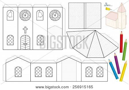 Church paper craft vector photo free trial bigstock church paper craft sheet unpainted cut out template for children for coloring and making maxwellsz