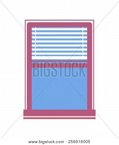 Window With Half-closed Jalousie Flat Vector Illustration Of House Part, Blue Glass In Wooden Window