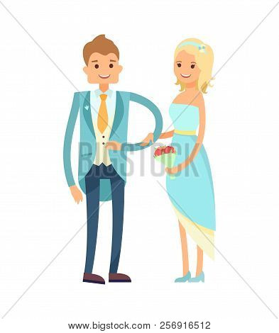 Bride And Groom In Good Mood, Excited Couple, Just Married People, Happy Newlyweds, Girl With Bouque