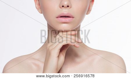 Beauty Fashion Woman Lips With Natural Makeup And Beige Nail Polish. Matte Lipstick And Nails. Beaut
