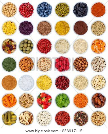 Fruits And Vegetables Berries Spices Herbs From Above Portrait Format Isolated On White