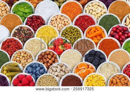 Fruits And Vegetables Spices Ingredients Background Berries From Above