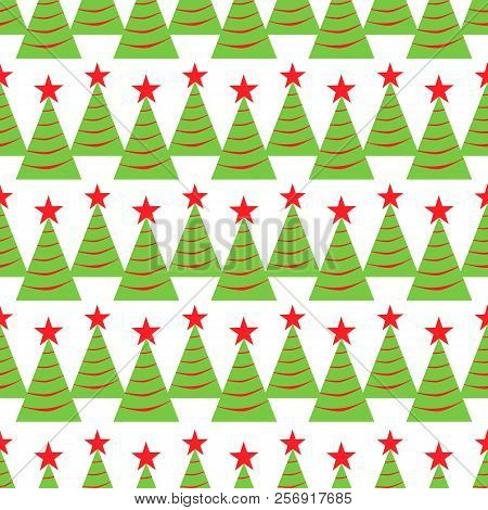 Christmas Tree Seamless Pattern. Winter Holidays Background. Repeated Texture For Wrapping Paper, Xm