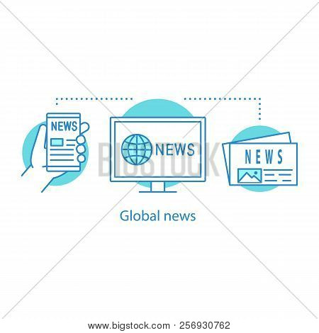 Global News Concept Icon. Electronic Newspaper Idea Thin Line Illustration. Newscast. Vector Isolate