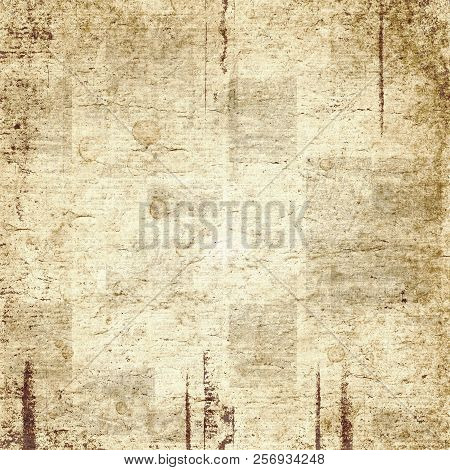 Newspaper Old Grunge Collage Square Texture. Unreadable Vintage News Paper Pattern. Scratched Paper